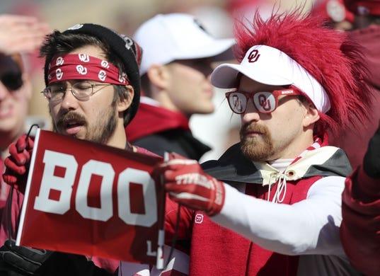 Nov 10, 2018; Norman, OK, USA; Oklahoma Sooners fans before the game against the Oklahoma State Cowboys at Gaylord Family - Oklahoma Memorial Stadium. Mandatory Credit: Kevin Jairaj-USA TODAY Sports