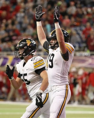 Nov 9, 2018; Cedar Falls, IA, USA; Southeast Polk Rams Jace Christenson (19) celebrates a Ram touchdown against the Cedar Falls Tigers at the UNI Dome. The Rams lost to the Tigers 26-12.  Ncaa Football Texas Tech At Iowa State