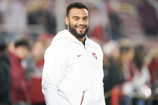 Nov 10, 2018; Stanford, CA, USA; San Francisco 49ers defensive end Solomon Thomas visits the sidelines before the game between the Stanford Cardinal and the Oregon State Beavers at Stanford Stadium. Mandatory Credit: Stan Szeto-USA TODAY Sports