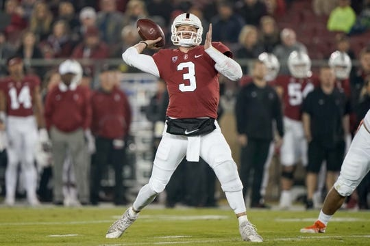 Nov 10, 2018; Stanford, CA, USA; Stanford Cardinal quarterback K.J. Costello (3) looks to throw the football against Oregon State Beavers during the first quarter at Stanford Stadium. Mandatory Credit: Stan Szeto-USA TODAY Sports