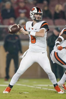 Nov 10, 2018; Stanford, CA, USA; Oregon State Beavers quarterback Jake Luton (6) throws the football against the Stanford Cardinal during the first quarter at Stanford Stadium. Mandatory Credit: Stan Szeto-USA TODAY Sports