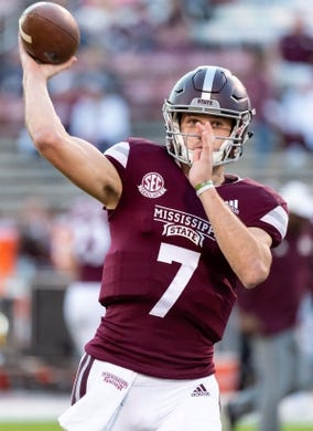 Nov 3, 2018; Starkville, MS, USA; Mississippi State Bulldogs quarterback Nick Fitzgerald (7) throws in warmups before the game against the Louisiana Tech Bulldogs at Davis Wade Stadium. Mandatory Credit: Vasha Hunt-USA TODAY Sports