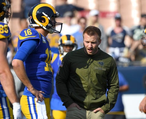 Nov 11, 2018; Los Angeles, CA, USA; Los Angeles Rams head coach Sean McVay talks with quarterback Jared Goff (16) before a game against the Seattle Seahawks at the Memorial Coliseum. Mandatory Credit: Jayne Kamin-Oncea-USA TODAY Sports