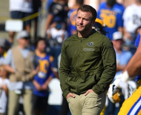 Nov 11, 2018; Los Angeles, CA, USA; Los Angeles Rams head coach Sean McVay walks on the field before a game against the Seattle Seahawks at the Memorial Coliseum. Mandatory Credit: Jayne Kamin-Oncea-USA TODAY Sports