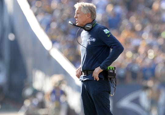 November 11, 2018; Los Angeles, CA, USA; Seattle Seahawks head coach Pete Carroll watches game action against the Los Angeles Rams during the first half at the Los Angeles Memorial Coliseum. Mandatory Credit: Gary A. Vasquez-USA TODAY Sports