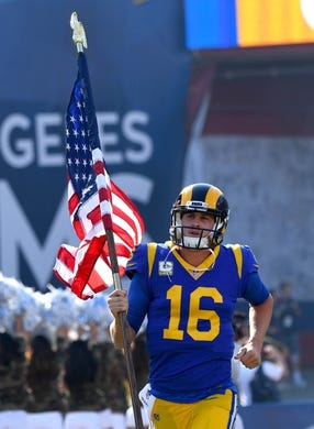 Nov 11, 2018; Los Angeles, CA, USA; Los Angeles Rams quarterback Jared Goff (16) runs on to the field for the game against the Seattle Seahawks as the Memorial Coliseum. Mandatory Credit: Jayne Kamin-Oncea-USA TODAY Sports