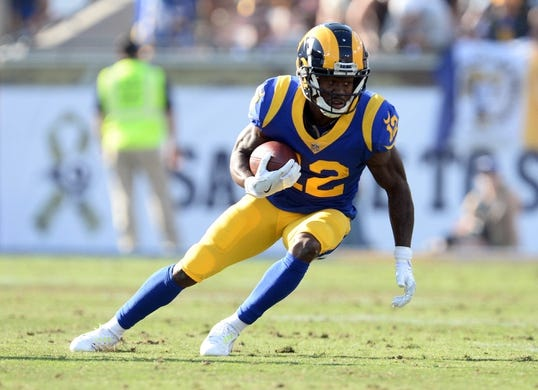 November 11, 2018; Los Angeles, CA, USA; Los Angeles Rams wide receiver Brandin Cooks (12) runs the ball against the Seattle Seahawks during the first half at the Los Angeles Memorial Coliseum. Mandatory Credit: Gary A. Vasquez-USA TODAY Sports