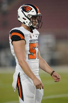 Nov 10, 2018; Stanford, CA, USA; Oregon State Beavers long snapper Connor Kelsey (57) warms up before the game against the Stanford Cardinal at Stanford Stadium. Mandatory Credit: Stan Szeto-USA TODAY Sports