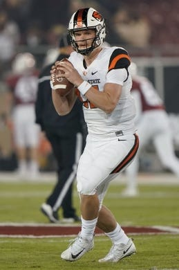 Nov 10, 2018; Stanford, CA, USA; Oregon State Beavers quarterback Jack Colletto (12) warms up before the game against the Stanford Cardinal at Stanford Stadium. Mandatory Credit: Stan Szeto-USA TODAY Sports