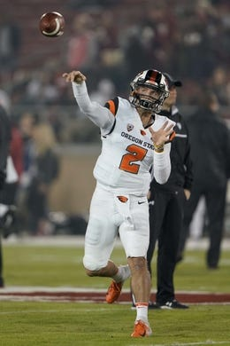 Nov 10, 2018; Stanford, CA, USA; Oregon State Beavers quarterback Conor Blount (2) warms up before the game against the Stanford Cardinal at Stanford Stadium. Mandatory Credit: Stan Szeto-USA TODAY Sports