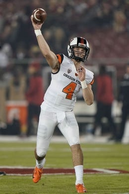 Nov 10, 2018; Stanford, CA, USA; Oregon State Beavers quarterback Aidan Willard (4) warms up before the game against the Stanford Cardinal at Stanford Stadium. Mandatory Credit: Stan Szeto-USA TODAY Sports