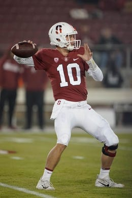 Nov 10, 2018; Stanford, CA, USA; Stanford Cardinal quarterback Jack West (10) warms up before the game against the Oregon State Beavers at Stanford Stadium. Mandatory Credit: Stan Szeto-USA TODAY Sports