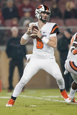Nov 10, 2018; Stanford, CA, USA; Oregon State Beavers quarterback Jake Luton (6) prepares to throw the football against the Stanford Cardinal during the first quarter at Stanford Stadium. Mandatory Credit: Stan Szeto-USA TODAY Sports
