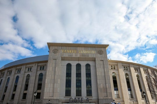 Nov 17, 2018; New York, NY, USA; General view of the exterior of Yankee Stadium prior to the game between the Notre Dame Fighting Irish and the Syracuse Orange. Mandatory Credit: Rich Barnes-USA TODAY Sports