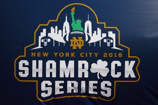 Nov 17, 2018; New York, NY, USA; General view of the 2018 Shamrock Series Logo prior to the game between the Notre Dame Fighting Irish and the Syracuse Orange at Yankee Stadium. Mandatory Credit: Rich Barnes-USA TODAY Sports