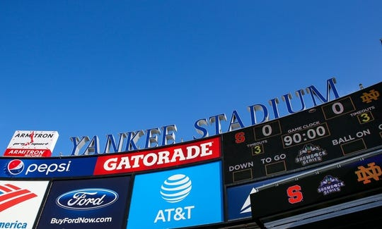 Nov 17, 2018; New York, NY, USA; General view of the scoreboard at Yankee Stadium prior to the game between the Notre Dame Fighting Irish and the Syracuse Orange. Mandatory Credit: Rich Barnes-USA TODAY Sports