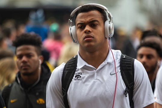 Iowa tight end Noah Fant walks into the stadium before a Big Ten Conference NCAA football game on Friday, Nov. 23, 2018, at Kinnick Stadium in Iowa City.  181123 Iowa Nebraska 093 Jpg