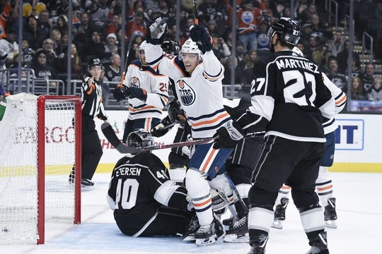 Nov 25, 2018; Los Angeles, CA, USA; Edmonton Oilers right wing Alex Chiasson (39) celebrates after scoring a goal during the first period against the Los Angeles Kings at Staples Center. Mandatory Credit: Kelvin Kuo-USA TODAY Sports
