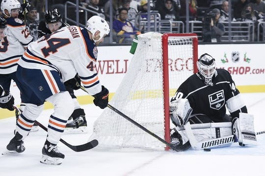Nov 25, 2018; Los Angeles, CA, USA; Los Angeles Kings goalie Cal Petersen (40) makes a save off a shot by Edmonton Oilers right wing Zack Kassian (44) during the first period at Staples Center. Mandatory Credit: Kelvin Kuo-USA TODAY Sports