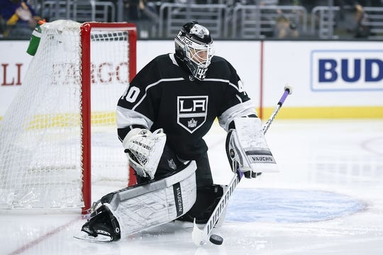Nov 25, 2018; Los Angeles, CA, USA; Los Angeles Kings goalie Cal Petersen (40) makes a save during the first period against the Edmonton Oilers at Staples Center. Mandatory Credit: Kelvin Kuo-USA TODAY Sports