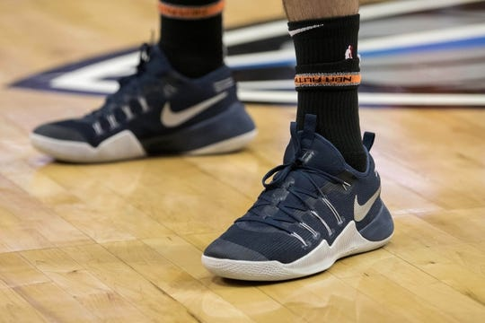 Dec 2, 2018; Dallas, TX, USA; A view of the shoes of LA Clippers center Marcin Gortat (13) as he warms up before the game between the Dallas Mavericks and the LA Clippers at the American Airlines Center. Mandatory Credit: Jerome Miron-USA TODAY Sports