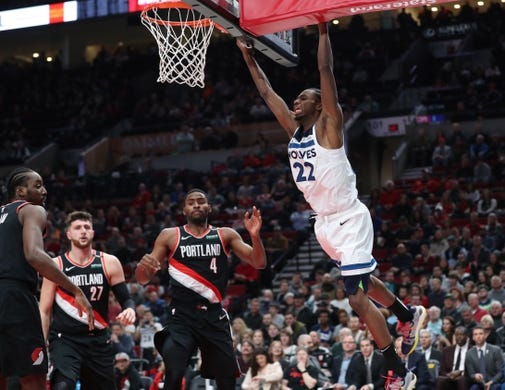 Dec 8, 2018; Portland, OR, USA;  Minnesota Timberwolves forward Andrew Wiggins (22) reacts after losing the ball against the Portland Trail Blazers in the first half at Moda Center. Mandatory Credit: Jaime Valdez-USA TODAY Sports