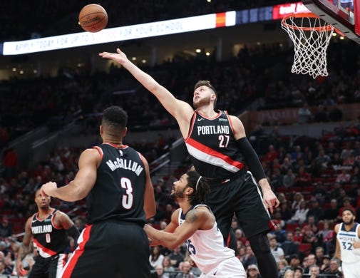 Dec 8, 2018; Portland, OR, USA;  Portland Trail Blazers center Jusuf Nurkic (27) goes for a rebound against the Minnesota Timberwolves in the first half at Moda Center. Mandatory Credit: Jaime Valdez-USA TODAY Sports
