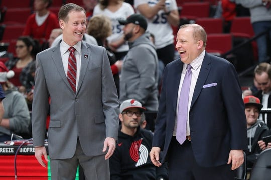 Dec 8, 2018; Portland, OR, USA; Portland Trail Blazers head coach Terry Stotts and Minnesota Timberwolves share a moment before their teams play at Moda Center. Mandatory Credit: Jaime Valdez-USA TODAY Sports