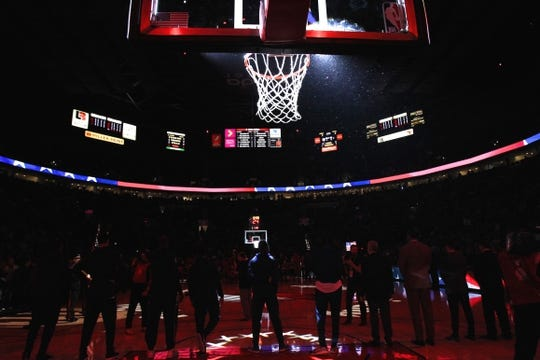 Dec 8, 2018; Portland, OR, USA;  Minnesota Timberwolves team stand for the National Anthem before playing Portland Trail Blazers at Moda Center. Mandatory Credit: Jaime Valdez-USA TODAY Sports