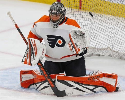Dec 14, 2018; Edmonton, Alberta, CAN; Philadelphia Flyers goaltender Anthony Stolarz (41) makes a save during warmup against the Edmonton Oilers at Rogers Place. Mandatory Credit: Perry Nelson-USA TODAY Sports