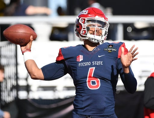 Dec 15, 2018; Las Vegas, NV, United States; Fresno State Bulldogs quarterback Marcus McMaryion (6) warms up before facing the Arizona State Sun Devils in the Las Vegas Bowl at Sam Boyd Stadium. Mandatory Credit: Stephen R. Sylvanie-USA TODAY Sports