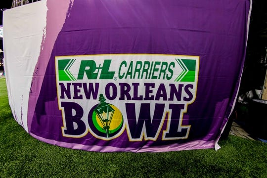 Dec 15, 2018; New Orleans, LA, USA; A general view of an R+L Carriers New Orleans Bowl banner prior to the game between the Appalachian State Mountaineers and the Middle Tennessee Blue Raiders at Mercedes-Benz Superdome. Mandatory Credit: Stephen Lew-USA TODAY Sports