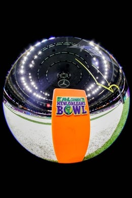 Dec 15, 2018; New Orleans, LA, USA; A general view of an R+L Carriers New Orleans Bowl logo on the goal post prior to the game between the Appalachian State Mountaineers and the Middle Tennessee Blue Raiders at Mercedes-Benz Superdome. Mandatory Credit: Stephen Lew-USA TODAY Sports