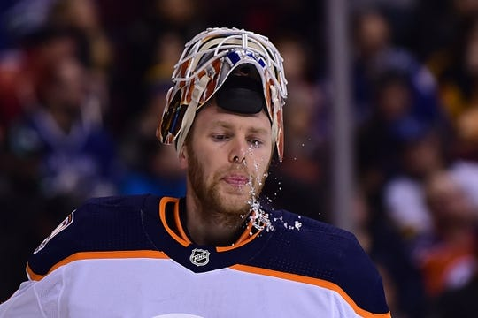 Dec 16, 2018; Vancouver, British Columbia, CAN; Edmonton Oilers goaltender Mikko Koskinen (19) awaits the start of play against the Vancouver Canucks during the first period at Rogers Arena. Mandatory Credit: Anne-Marie Sorvin-USA TODAY Sports