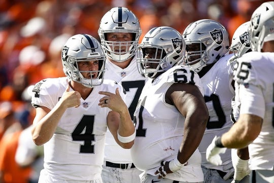 Sep 16, 2018; Denver, CO, USA; Oakland Raiders quarterback Derek Carr (4) with offensive tackle Kolton Miller (77) and center Rodney Hudson (61) in the second quarter against the Denver Broncos at Broncos Stadium at Mile High. Mandatory Credit: Isaiah J. Downing-USA TODAY Sports