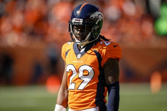 Sep 16, 2018; Denver, CO, USA; Denver Broncos cornerback Bradley Roby (29) in the second quarter against the Oakland Raiders at Broncos Stadium at Mile High. Mandatory Credit: Isaiah J. Downing-USA TODAY Sports