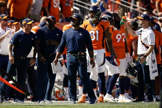 Sep 16, 2018; Denver, CO, USA; Denver Broncos head coach Vance Joseph in the second quarter against the Oakland Raiders at Broncos Stadium at Mile High. Mandatory Credit: Isaiah J. Downing-USA TODAY Sports