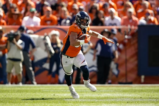 Sep 16, 2018; Denver, CO, USA; Denver Broncos tight end Jake Butt (80) runs the ball in the first quarter against the Oakland Raiders at Broncos Stadium at Mile High. Mandatory Credit: Isaiah J. Downing-USA TODAY Sports