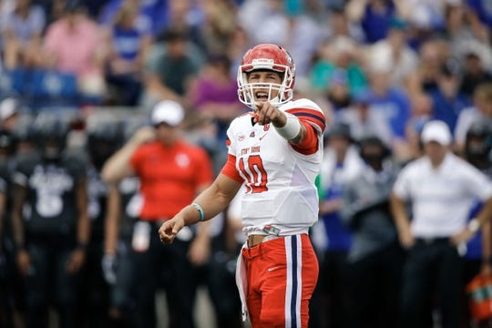 Sep 1, 2018; Colorado Springs, CO, USA; Stony Brook Seawolves quarterback Joe Carbone (10) motions in the first quarter against the Air Force Falcons at Falcon Stadium. Mandatory Credit: Isaiah J. Downing-USA TODAY Sports