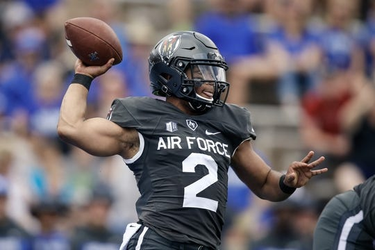 Sep 1, 2018; Colorado Springs, CO, USA; Air Force Falcons quarterback Arion Worthman (2) drops back to pass in the first quarter against the Stony Brook Seawolves at Falcon Stadium. Mandatory Credit: Isaiah J. Downing-USA TODAY Sports