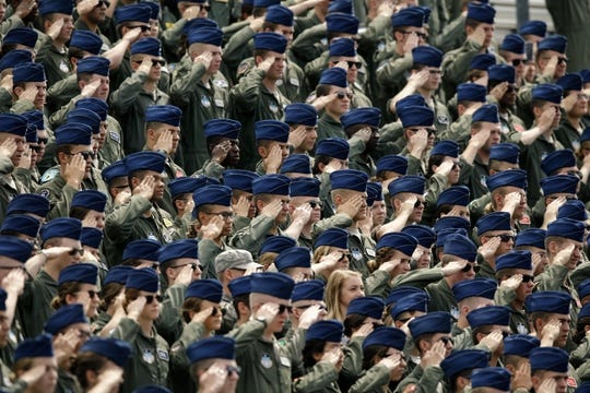 Sep 1, 2018; Colorado Springs, CO, USA; Air Force Cadets salute during the National Anthem before the game against the Stony Brook Seawolves at Falcon Stadium. Mandatory Credit: Isaiah J. Downing-USA TODAY Sports