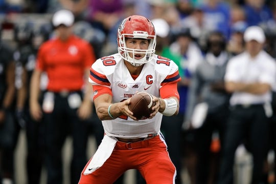 Sep 1, 2018; Colorado Springs, CO, USA; Stony Brook Seawolves quarterback Joe Carbone (10) in the first quarter against the Air Force Falcons at Falcon Stadium. Mandatory Credit: Isaiah J. Downing-USA TODAY Sports