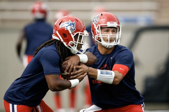 Sep 1, 2018; Colorado Springs, CO, USA; Stony Brook Seawolves quarterback Joe Carbone (10) and wide receiver Seba Nekhet (3) warmup before the game against the Air Force Falcons at Falcon Stadium. Mandatory Credit: Isaiah J. Downing-USA TODAY Sports