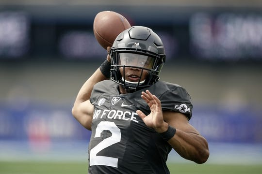 Sep 1, 2018; Colorado Springs, CO, USA; Air Force Falcons quarterback Arion Worthman (2) before the game against the Stony Brook Seawolves at Falcon Stadium. Mandatory Credit: Isaiah J. Downing-USA TODAY Sports
