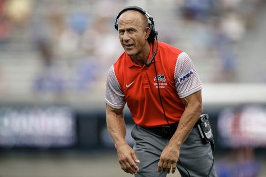 Sep 1, 2018; Colorado Springs, CO, USA; Stony Brook Seawolves head coach Chuck Priore in the first quarter against the Air Force Falcons at Falcon Stadium. Mandatory Credit: Isaiah J. Downing-USA TODAY Sports