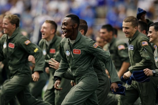 Sep 1, 2018; Colorado Springs, CO, USA; United States Air Force Cadets run off the field before the game against the Stony Brook Seawolves at Falcon Stadium. Mandatory Credit: Isaiah J. Downing-USA TODAY Sports
