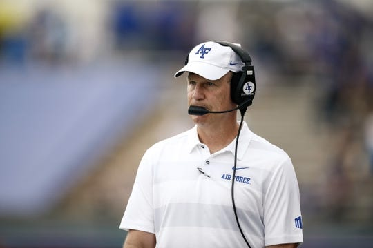 Sep 1, 2018; Colorado Springs, CO, USA; Air Force Falcons head coach Troy Calhoun in the second quarter against the Stony Brook Seawolves at Falcon Stadium. Mandatory Credit: Isaiah J. Downing-USA TODAY Sports