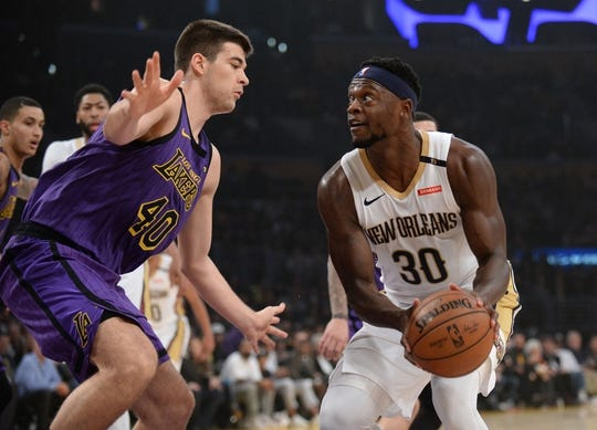 December 21, 2018; Los Angeles, CA, USA; New Orleans Pelicans forward Julius Randle (30) moves to the basket against Los Angeles Lakers center Ivica Zubac (40) during the first half at Staples Center. Mandatory Credit: Gary A. Vasquez-USA TODAY Sports