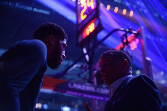 December 21, 2018; Los Angeles, CA, USA; New Orleans Pelicans forward Anthony Davis (23) speaks with head coach Alvin Gentry before playing against the Los Angeles Lakers at Staples Center. Mandatory Credit: Gary A. Vasquez-USA TODAY Sports