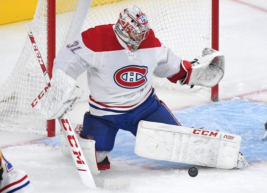 Dec 22, 2018; Las Vegas, NV, USA; Montreal Canadiens goaltender Carey Price (31) makes a first period save against the Vegas Golden Knights at T-Mobile Arena. Mandatory Credit: Stephen R. Sylvanie-USA TODAY Sports